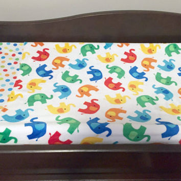 Changing Pad Cover, Elephants and Polka Dots, Minky Changing Pad Covers, Rainbow Nursery, Colorful Changing Pad