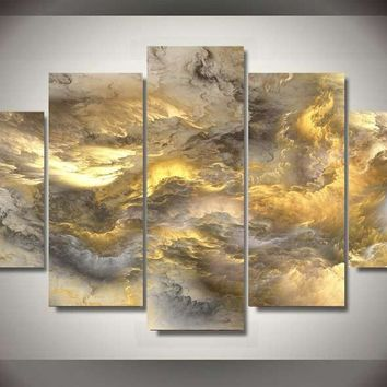 Gold Clouds 5-Piece Wall Art Canvas