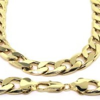 LUXURY Curb Chain Necklace 24 k Gold plated Heavy 13mm Bling solid chunky cuban