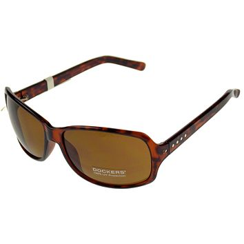 Levi Strauss DOCKERS Sunglasses UV Rectangular Brown Plastic Large 63-16-135
