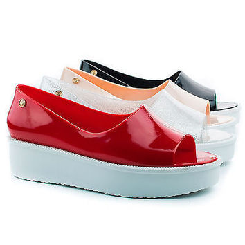 Rosario Jelly Peep Toe Flatform Fashion Casual Slip On Shoes for Women