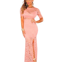 Lace Short Sleeve Bodycon Maxi Dress with Slit