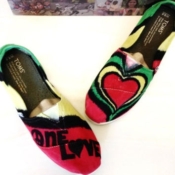 One Love Bob Marley Rasta Tie-dye TOMS Shoes, Custom Men's