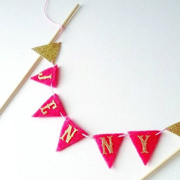 Name Felt Cake Bunting - Felt Bunting Pink Garland - Gold Cake Banner Party Decor -Cake Topper Gold Glitter Bunting - Hot Pink Princess Cake