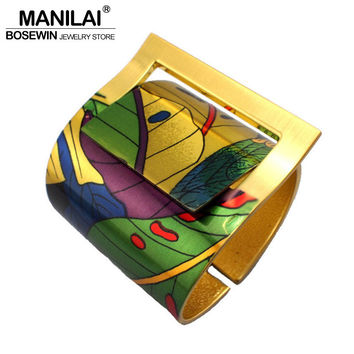 MANILAI Fashion Country Style Painting Design Opened Bangle Cuff Bracelet For Women High Quality Gold Plated Costume Jewellery