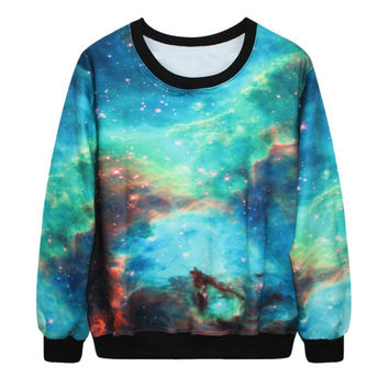 Trippy 3d Sweatshirts Galaxy digital print pullovers for women's