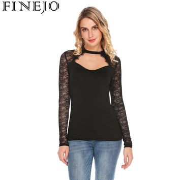 Finejo Latest Women Sexy Lace Patchwork Slim Fit T-shirt Top Stand Collar Cut Out Long Sleeve Spring Autumn Camisa Feminina