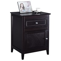 Espresso Wood 1-Drawer End Table Cabinet Nightstand