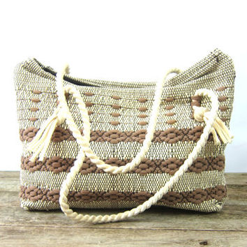 Brown & White Knit Fabric Bag Double rope Straps Woven Purse 1950s Hipster Nylon Indie Girl Retro Cloth Bag