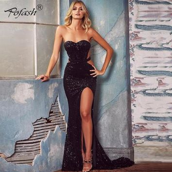 POFASH 2018 New Sexy Dress Backless Fashion Sequin Party Women Dress Summer high split Strapless Elegant Maxi Dresses Vestidos