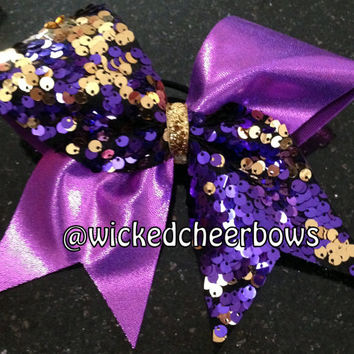 Cheer Bow - Purple Spandex with Purple & Gold Sequins