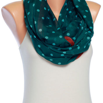 Infinity scarf green scarf polka dot scarf Spring scarf Summer scarves Womens Fashion scarves Womens Scarves Gift Ideas for her
