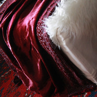 Boho, Ox Blood, Anthropologie Style - Moroccan Velvet Beaded Throw