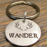 WANDER Antler Dad Mens Hand Stamped Personalized Key Chain With Choice of Brushed Aluminum Copper or Brass Charm Tag Made To Order
