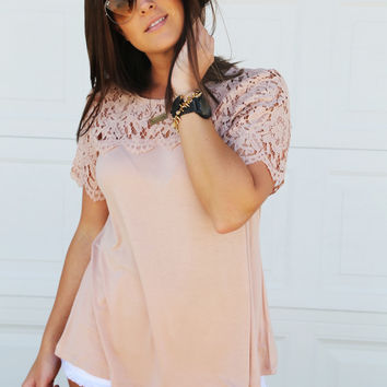 Blush Crush Short Sleeve Lace Top