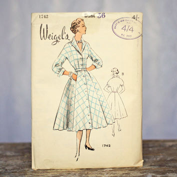 Weigel's Vintage Sewing Pattern 1742, Size 16 Medium-Large 1950s Fitted Button Through Coat Dress