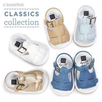 2018 New & Hot Casual Baby Pu leather & Denim Moccasins (fits newborn size 1 to 3)