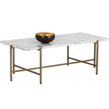SOLAN BRUSHED ANTIQUE BRASS STEEL BASE CARRARA MARBLE TOP RECTANGULAR COFFEE TABLE