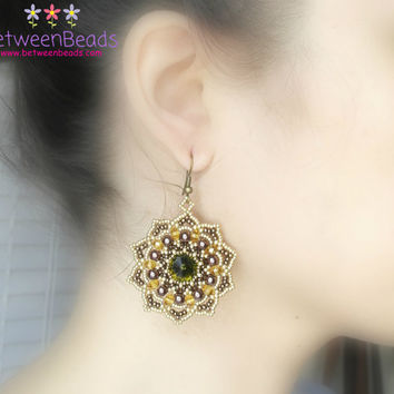 Swarovski Big Earrings, Large Drop Earrings, Bronze Green and Yellow, Beadwork, Gift Girlfriend Mother, Party Bridal Jewellery, Star Shape