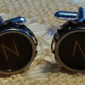 Silver N Cuff Links, Mens Jewelry, Typewriter Key Cufflinks, Vintage Typewriter Key Letter N, Initial N Cuff Links, Mens Personalized Gift N