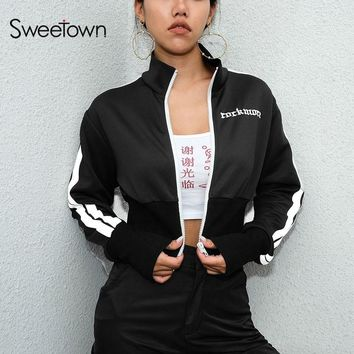 Sweetown Steampunk Coats And Jackets Women Autumn 2018 Chaqueta Mujer Streetwear Cropped Long Sleeve Striped Patchwork Jackets