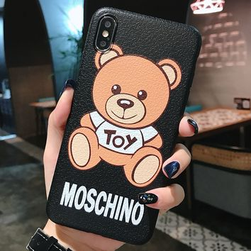 Moschino Tide brand cartoon bear print iPhoneXs mobile phone case cover #3