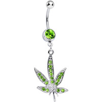 Green Gem Paved Pot Leaf Dangle Belly Ring | Body Candy Body Jewelry