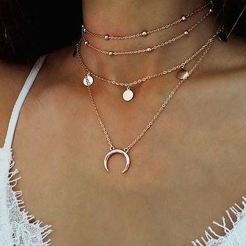 Fashion Vintage Multilayer Acrylic Horn Moon Tattoo Chokers Long Boho crescent Necklace for Women Summer style necklace