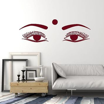 Vinyl Wall Decal Indian Woman Female Beautiful Eyes India Hindu Bindi Stickers Mural (ig5367)
