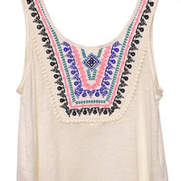 Spring Fever Embroidered Trim Tank Top