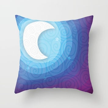 Good Night // Night Time Moon Throw Pillow by AEJ Design