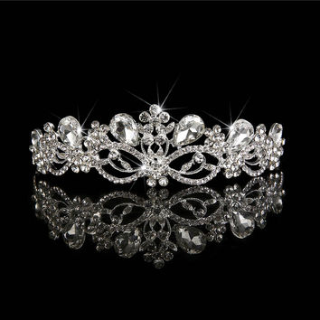 Wedding Hairwear Jewelry Tiara Bride Wedding Rhinestone Hair Accessories Crystal Hair Ornaments Diadem Hair Flowers Queen Crown