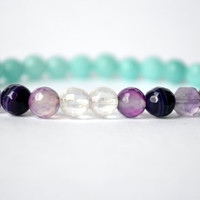 Jade bracelet with Quartz, Amethyst & Agate to ease anxiety/worry, elevate moods, bring new opportunities, clear chakras. Healing bracelet