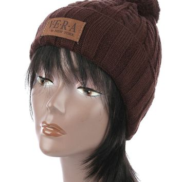 Brown Pom Pom Cable Knit Winter Beanie Hat And Cap