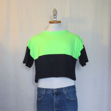 Vintage 80s NEON BEACH SURF Black Stylish Hip Summer Fluorescent Green Unisex Medium Large Cotton 1/2 T-Shirt