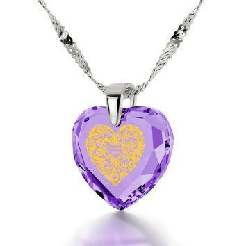 """""""I Love You More"""", 925 Sterling Silver Necklace, Cubic Zirconia"""