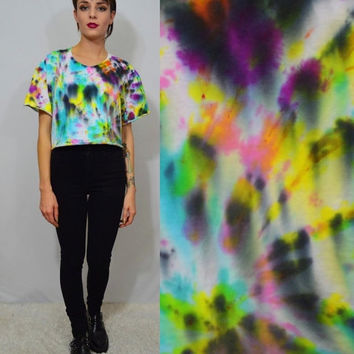 Tie Dye Crop Top Large Oversize Rainbow Soft Grunge Hippie Hipster Sativa Diva PLUR Watercolor Abstract Funky Handmade Tie Dye T Shirt Women