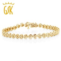 925 Sterling Silver Yellow Gold Plated Heart Shape Diamond Bracelet
