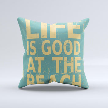 Grungy Life Is Good At The Beach Ink-Fuzed Decorative Throw Pillow