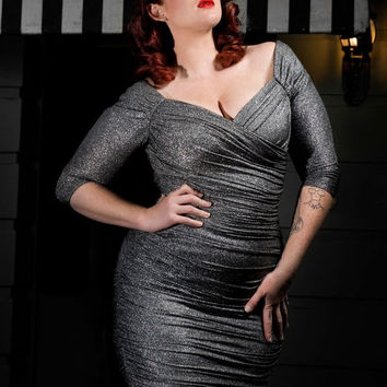 Monica Dress in Black and Silver Lurex Knit - Plus Size