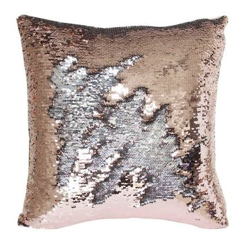 "16""x16"" with INSERT Mermaid Flip Sequin Pillow that Changes Color Reversible Pillow with Sequins Perfect Color Changing Throw Pillow Square for Home Decor Great Gift for all Rose Gold Silver"