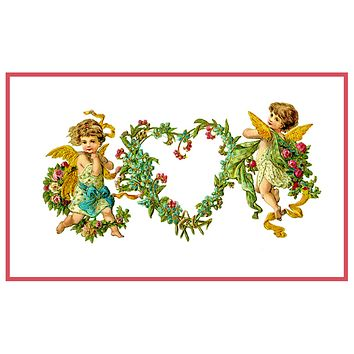 Victorian 2 Angels Cupids with Heart Wreath Valentine from Antique Card Counted Cross Stitch Pattern