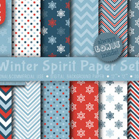 1 USD only 24 HRS, 12 Winter Spirit Paper Digital, red blue white paper, 12 x 12,  digital paper, invitations, cards paper, party paper