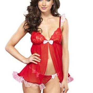 DCCKLP2 2PC.Sequin trimmed sheer flyaway babydoll and thong in RED