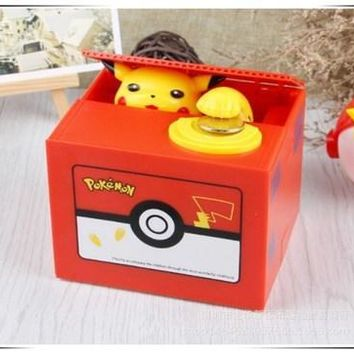 Brand New  Pikachu Electronic Plastic Money Box Steal Coin Piggy Bank Money Safe Box For Kids Gift Desk ToyKawaii Pokemon go  AT_89_9