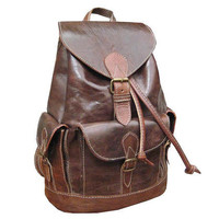 Handmade Leather Backpack Satchel Messenger Rucksack, school college vintage handbag  travel bag