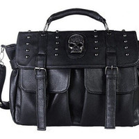 Black Punk Style Skull Studded Crossbody Clutch Handfashion bag with Detachable Strap