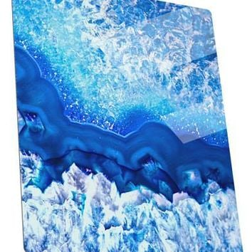 Blue Agate Geode Print Metal Panel Wall Art Portrait - Choose Size