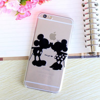 Cartoon Mickey Minnie Mouse Kiss Couples Lovers Soft Clear Silicone Back Cover Case for iPhone 6 6s 4.7 inch