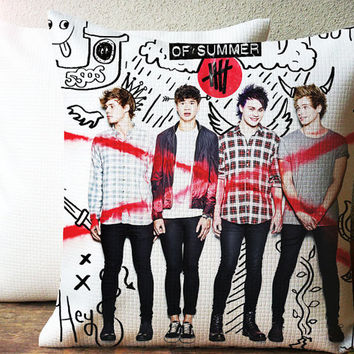 5sos high school collage Decorative Pillow Case Size 18 x 18 Inches One Side or Two Side